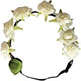 """Mia Flashion Flowers-Flower Halo Headband That Lights Up! White Colored 1"""" Roses With White Lights-3 Settings: Fast Flash, Slow Flash, Constant Light-Adjustable Strap-Battery Included AS SEEN ON TV"""