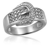 Diamond Sterling Silver Buckle Fashion Ring by JewelonFire