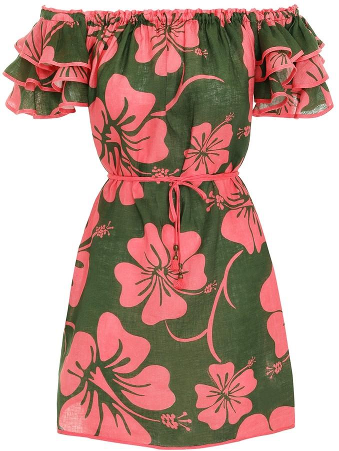 Zimmermann Lulu Ruffle Sleeve Short Dress