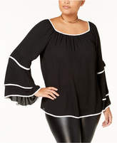 ING Trendy Plus Size Tiered Contrast-Trim Blouse
