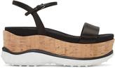 Miu Miu Black Satin Platform Sandals