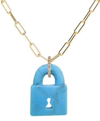 Lee Jones Arizona Turquoise Pad Lock Chain Necklace - Yellow Gold
