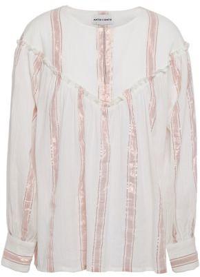 Antik Batik Julia Metallic Striped Cotton-gauze Blouse