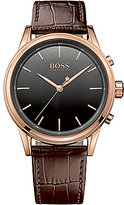HUGO BOSS BOSS Smart Classic Rose Gold IP Case Brown Embossed Leather Strap Watch