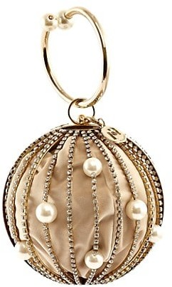 Rosantica Sasha Crystal-Embellished Round Bar Clutch