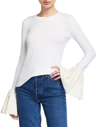 Mother of Pearl Alex Long-Sleeve Top w/ Jacquard Ruffle Cuffs