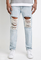 Forever 21 FOREVER 21+ Light Wash - Destroyed Slim-Leg Jeans