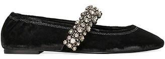 Tory Burch Crystal-Embellished Velvet Ballet Flats