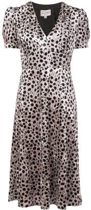 HVN Paula velvet leopard-print dress