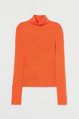 H&M Rib-knit Turtleneck Sweater - Orange