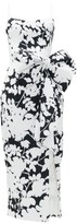 Rasario Exaggerated-bow Floral-print Crepe Dress - Womens - Black White