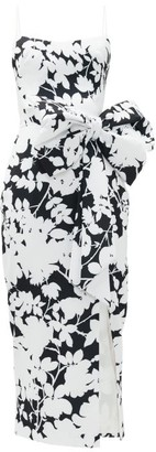 Rasario Exaggerated-bow Floral-print Crepe Dress - Black White
