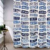Park B. Smith Metro Farmhouse License Plates Shower Curtain in Denim