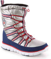 Khombu Women's Alta USA Snow Boot -Silver/Red/Blue