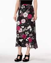 NY Collection Petite Printed Flounce-Trim Skirt