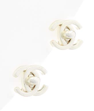 Chanel Silver-Tone Medium Cc Turnlock Earrings