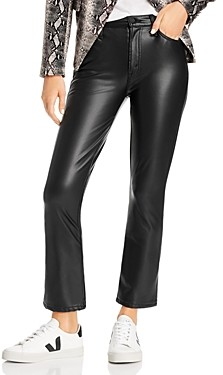 Mother The Insider Faux-Leather Ankle Flare Jeans in Faux Show