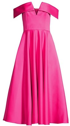 Jay Godfrey Hays Off-The-Shoulder Pleated Dress