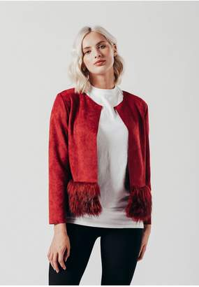 Oeuvre Red Faux suede jacket with faux fur trim