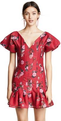 Keepsake Women's Untouchable V Neck Puff Short Sleeve Mini Dress