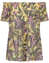 RED Valentino Off-the-shoulder Floral-print Cotton And Silk-blend Top