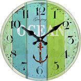 """Grazing 12"""" Vintage Roman Numeral Design Rustic Country Tuscan Style Wooden Decorative Round Wall Clock (Ocean2)"""