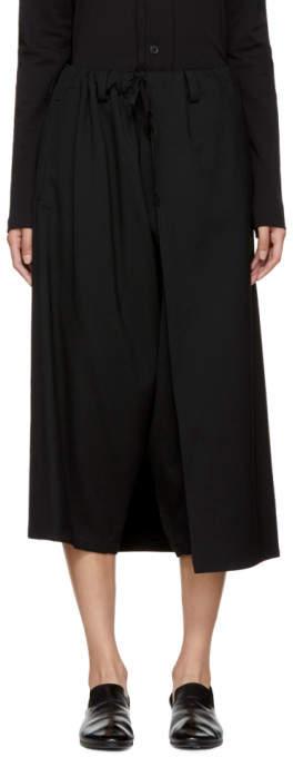 Y's Ys Black Left Wrap Trousers