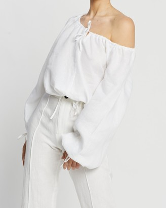 AERE - Women's White Shirts & Blouses - Blouson Blouse - Size 14 at The Iconic