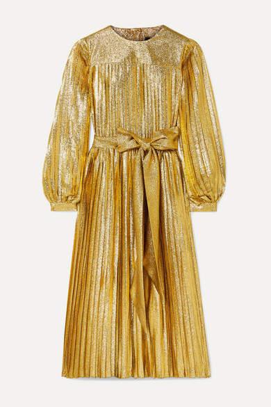 Marc Jacobs Pleated Metallic Silk-blend Midi Dress - Gold