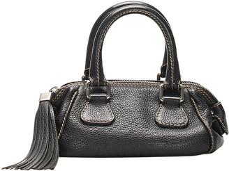 Chanel Black Caviar Leather Logo Fringe Bag