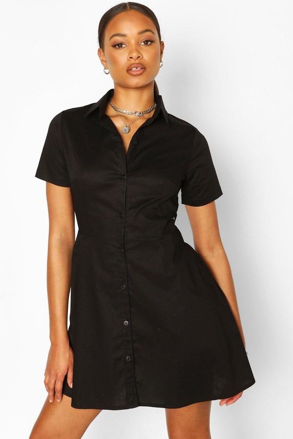 boohoo Cotton Skater Shirt Dress