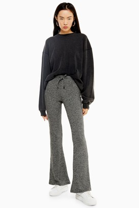 Topshop Womens Charcoal Grey Tie Ribbed Marl Flare Trousers - Charcoal