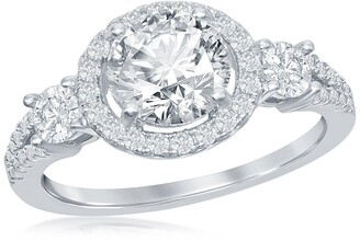 Simona Jewelry Sterling Silver Round-Cut CZ Halo Engagement Ring