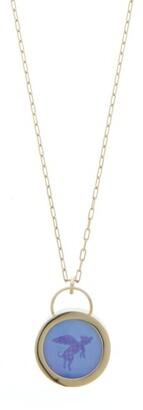 Retrouvaí Flying Pig Agate & 14kt Gold Necklace - Blue Gold