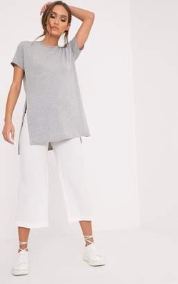 PrettyLittleThing Grey Side Split T-Shirt