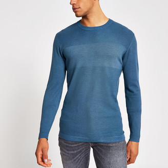 River Island Blue long sleeve slim fit knitted top