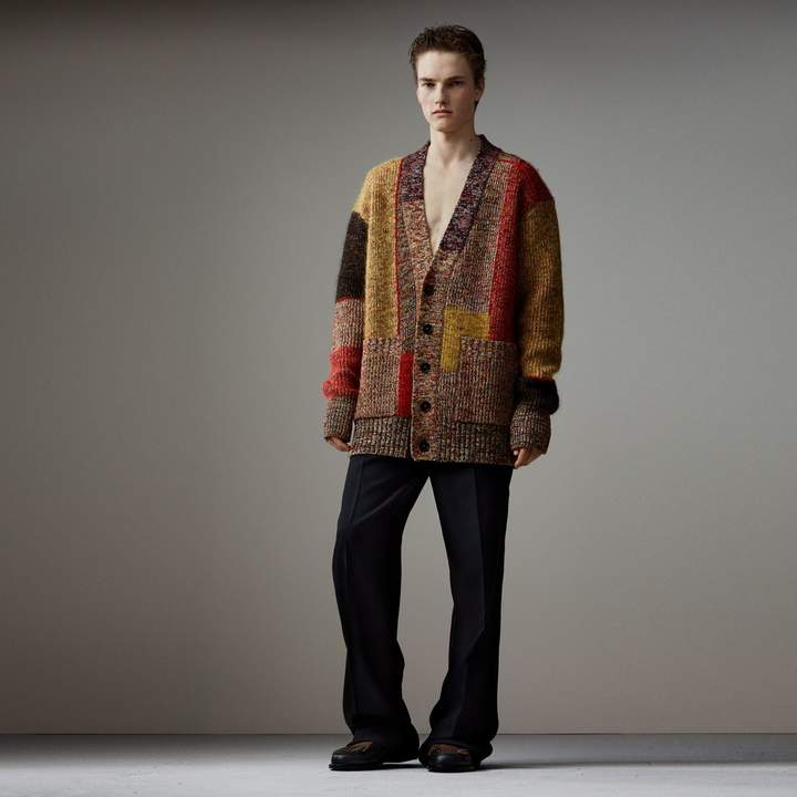 Burberry Wool Linen Mohair Blend Mouliné Oversized Cardigan