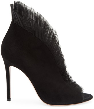 Gianvito Rossi Ginevra Tulle & Suede Ankle Boots