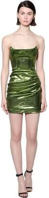 De La Vali Draped Lurex Mini Dress