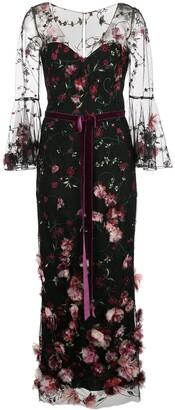 Marchesa 3/4 sleeve v-neck 3D floral dress
