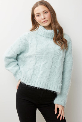 Adyson Parker Cable Knit Eyelash Turtleneck Mint Green S