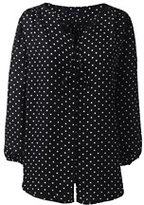 Classic Women's Petite 3/4 Sleeve Contrast Binding Blouse-Black Dots
