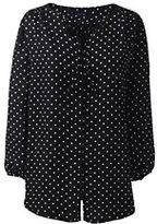 Lands' End Women's Petite 3/4 Sleeve Contrast Binding Blouse-Black Dots