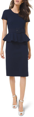 Michael Kors Double-Faced Peplum Sheath Dress with Belt