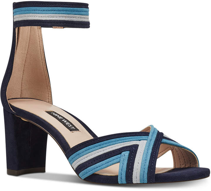 2c9b73ca26b Nine West Blue Heeled Women s Sandals - ShopStyle