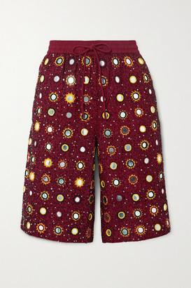 Ashish Cosmic Sheesha Embellished Cotton Shorts - Red