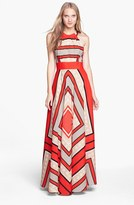 Eliza J Women's Scarf Print Crepe De Chine Fit & Flare Maxi Dress