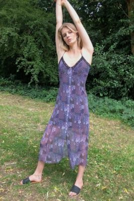 Urban Renewal Vintage Urban Outfitters Archive Patchwork Mesh Lace Maxi Dress - Purple XS at Urban Outfitters