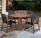 Amazonia Bahamas 5-Piece Round Eucalyptus Outdoor Patio Dining Set with Sling Chairs