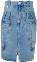Isabel Marant pleated-waist denim pencil skirt